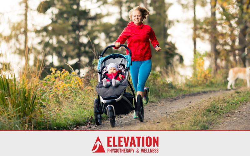 Woman running with baby in stroller